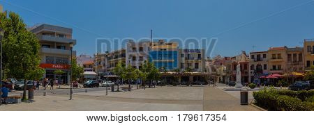 Rethymno, Greece - August  1, 2016:  The Square Of The Unknown Soldier, Wide Panorama.