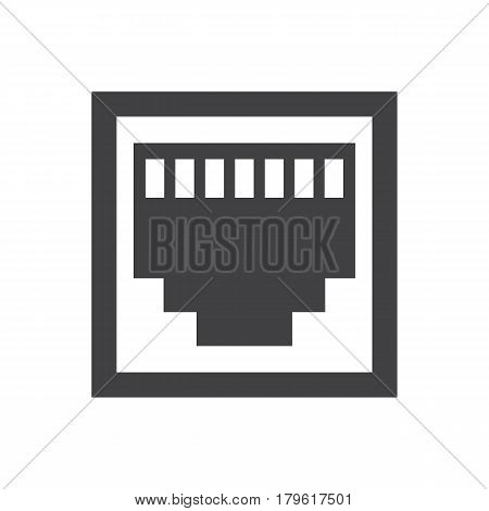 RJ45 icon on the white background. Vector illustration