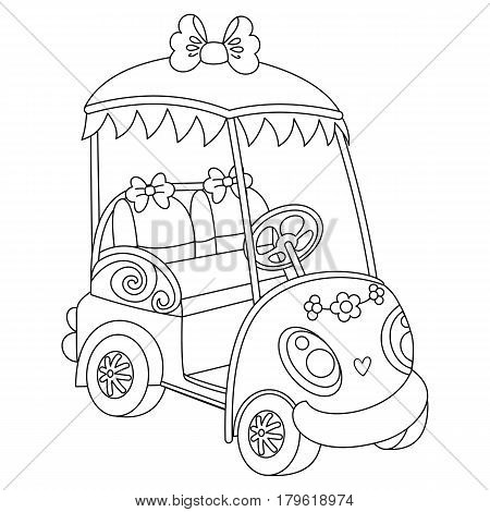 Vector black and white golf buggy, golf car, golf cart