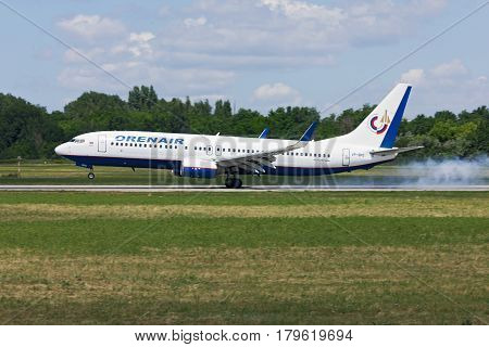 Airplane Boeing-737 of Oren Air aircraft landing Rostov-on-Don Russia June 22 2011