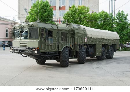 Charging machine for Iskander Rostov-on-Don Russia May 9 2014. Reserve equipment for the Victory Parade.