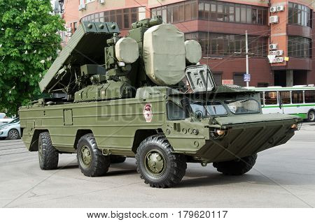The air defense system of the Wasp Rostov-on-Don Russia May 9 2014. Reserve Technology for the Victory Parade.
