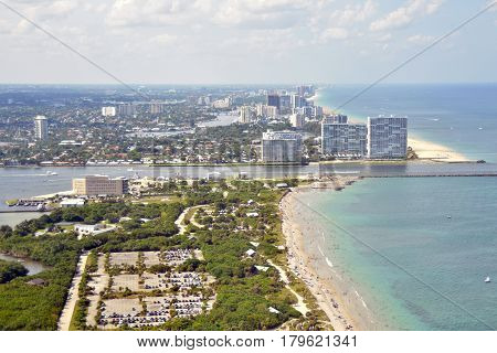 Fort Lauderdale Florida shoreline and beach seen from above