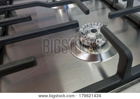 Close up of gas stove. Details of gas stove