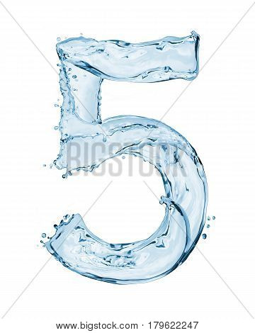 Number 5 made with a splashes of water isolated on white background