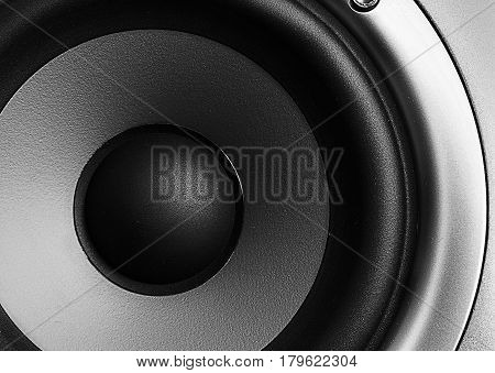 Closeup of a home theater stereo speaker