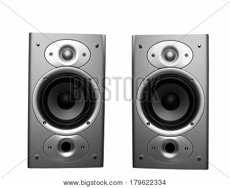 two stereo home theater speakers isolated on white