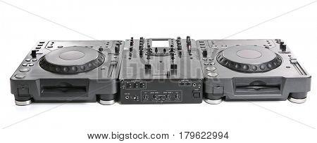 Dj mixer on white background