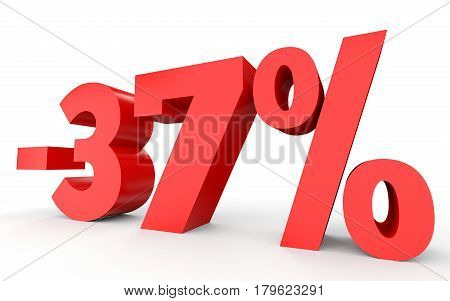 Minus thirty seven percent. Discount 37 %. 3D illustration on white background. poster