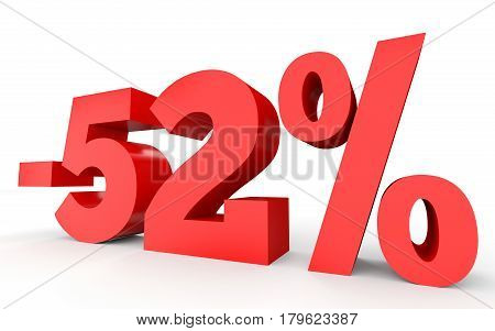 Minus Fifty Two Percent. Discount 52 %.