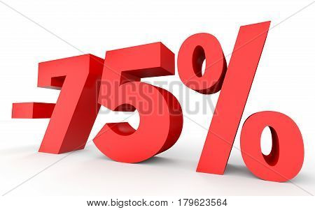 Minus Seventy Five Percent. Discount 75 %.