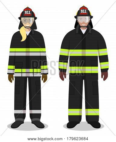 Couple of firefighter people isolated on white background. Set of fireman and firewoman standing together. Cute and simple in flat style.