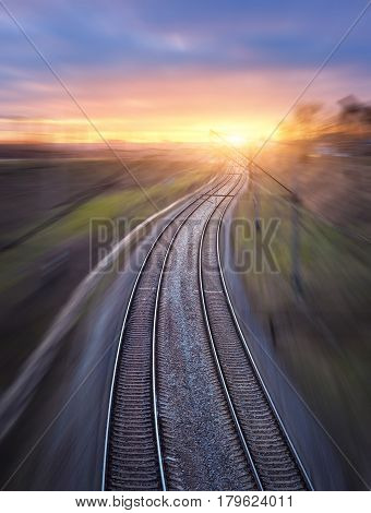 Railway Station With Motion Blur Effect