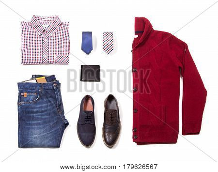 Men's classic clothing isolated. Shirt with tie, shawl, vest, belt and shoes