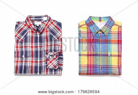 Two colored men's checkered shirts. Isolated on white background