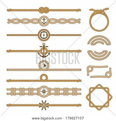 Nautical vintage rope vector dividers and elements. Design of border frame illustration. Decorative marine jute frame illustration