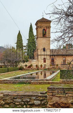 view of building in Alhambra garden Granada Spain