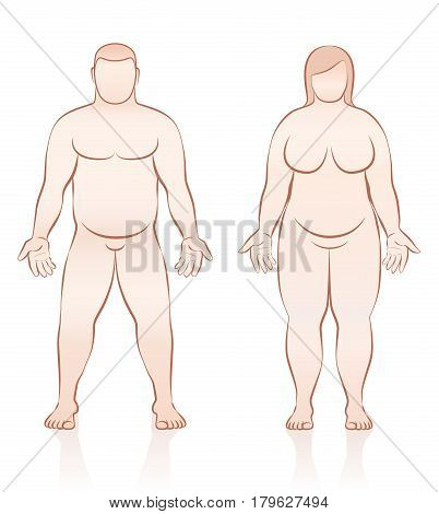 Fat people - overweight man and woman - front view - isolated outline vector illustration.