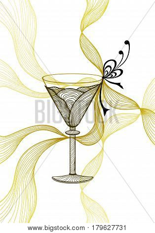Beautiful abstract wineglass with lace flower bows black gold  on white for decoration package or for wallpaper or  for advertising  Glassware or wine cocktail
