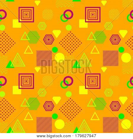 Abstract seamless pattern in postmodern Memphis Style orange green   lilac for wallpaper or package or for clothes or for creative design summer holiday
