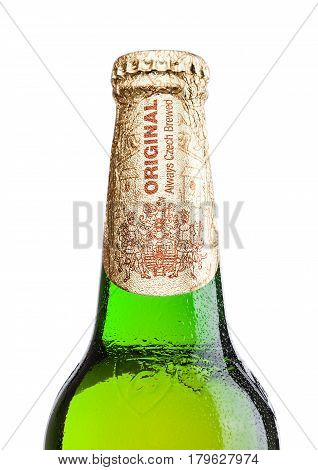 LONDONUK - MARCH 30 2017 : Bottle of Budweiser Budvar beer on white background one of the highest selling beers in the Czech Republic.
