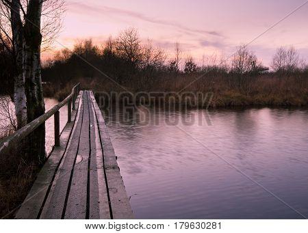 Walking Bridge In Dutch Marsh