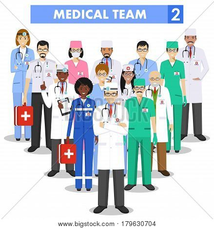 Detailed illustration of medical people in flat style on white background.
