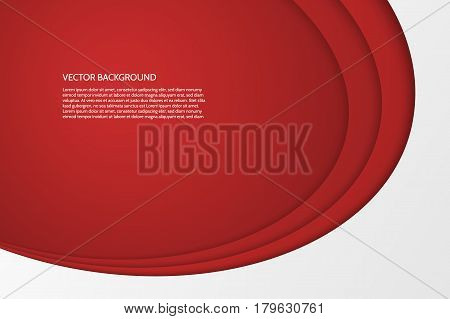 Vector modern simple oval red and white background with paper effect. 3D ovals with soft shadows. Sample text.