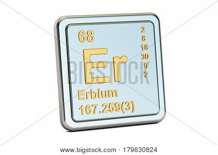 Erbium Er chemical element sign. 3D rendering isolated on white background