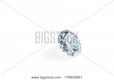 faceted diamond of blue color in macro on a white background