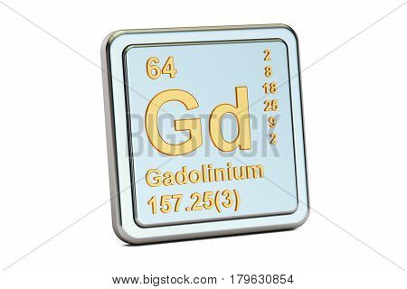 Gadolinium Gd chemical element sign. 3D rendering isolated on white background