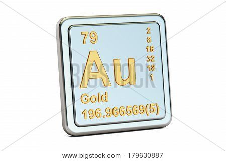 Gold aurum Au chemical element sign. 3D rendering isolated on white background