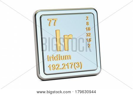 Iridium Ir chemical element sign. 3D rendering isolated on white background