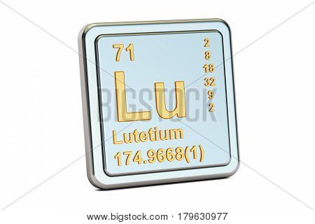 Lutetium Lu chemical element sign. 3D rendering isolated on white background