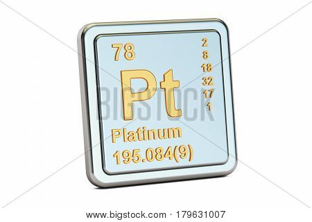 Platinum Pt chemical element sign. 3D rendering isolated on white background