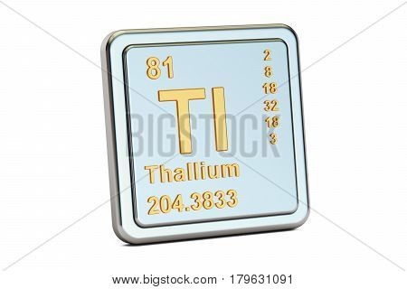 Thallium Tl chemical element sign. 3D rendering isolated on white background