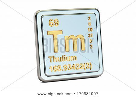 Thulium Tm chemical element sign. 3D rendering isolated on white background