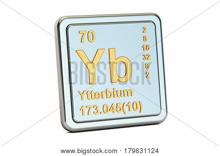 Ytterbium Yb chemical element sign. 3D rendering isolated on white background