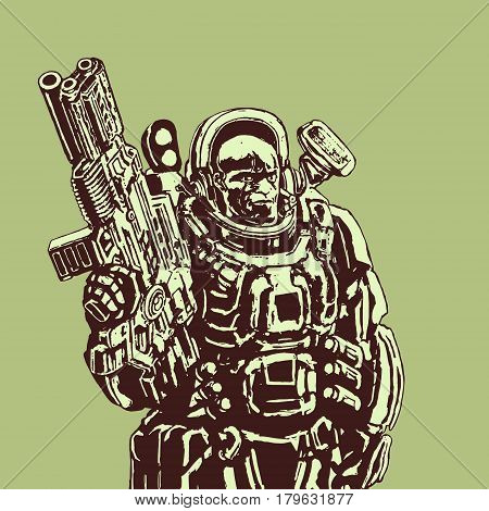 Heavy space marine in colorful suit with large plasma rifle. Science fiction original character the soldier of the future. Vector illustration. Green background.