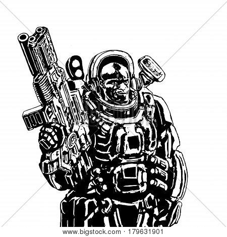 Heavy space marine in colorful suit with large plasma rifle. Science fiction original character the soldier of the future. Vector illustration.