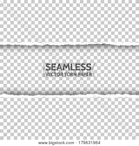 Vector seamless torn paper on transparent background. Isolated ripped paper edge with soft shadow. Template for your design. Sample text