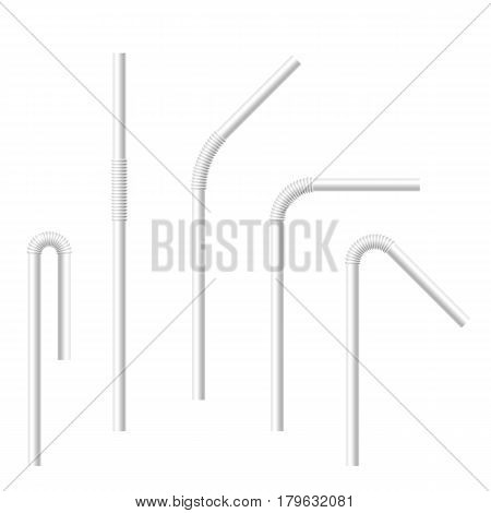 Vector realistic drinking straws set. Collection of white drinking straws with various bends. Template for design.
