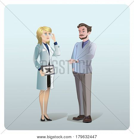 Cartoon medical treatment concept with doctor helping patient to solve his mental and psychological problems isolated vector illustration