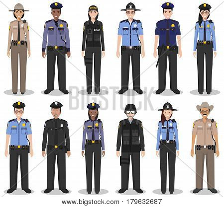Detailed illustration of sheriff SWAT officer policewoman and policeman in flat style on white background.