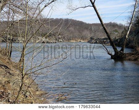The landscape of Potomac River near Washington USA March 20 2017