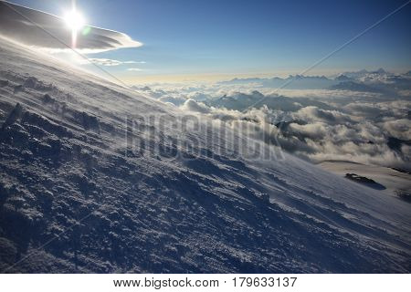 Colorful sunrise over mount Elbrus on the high altitude