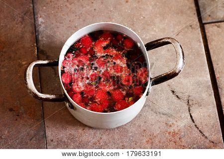 Cooking, Preparing, Making Healthy Natural Compote From Forest Berries (raspberries, Cherries, Elder