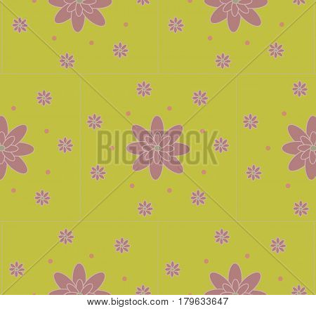 Seamless pattern the cute purple flowers with dots on the light green background.Can be used to create paper for wrapping gifts, fabrics, home textiles and background for website. Vector