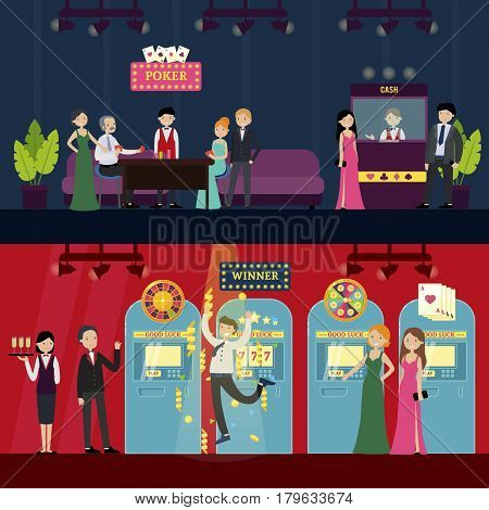 People in casino horizontal banners with visitors staff poker games and different kinds of slot machines vector illustration