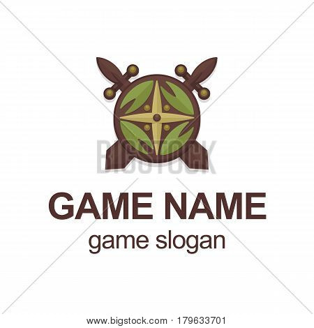 Vector illustration with cartoon viking or knight swords and shield. Game logo template. Vector emblem or logo illustration. Cartoon round shield with wood sword. Military or security